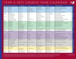 Church Year Calendar, Year A 2017