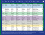 Church Year Calendar, Year B 2018: Downloadable