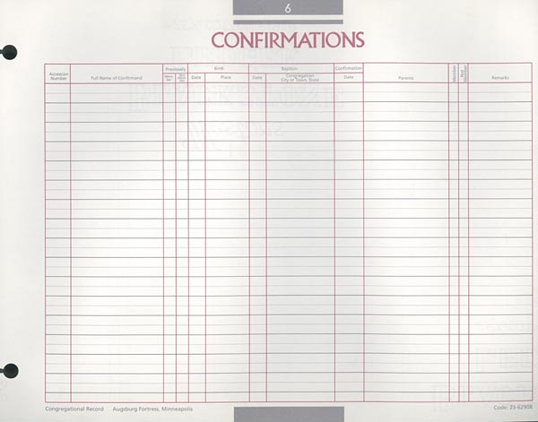 Confirmation Congregational Record