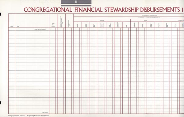 Congregational Financial Stewardship Disbursements 1: Congregational Record