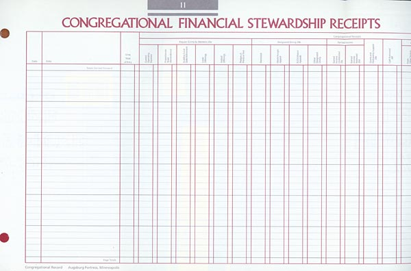 Receipts Congregational Record