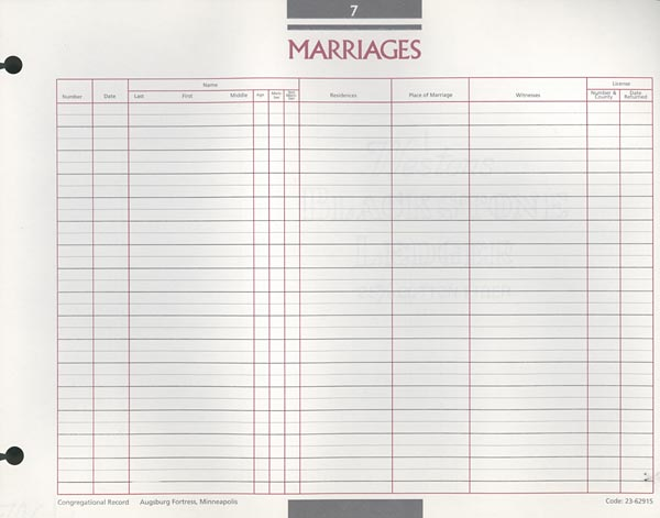 Marriage Congregational Record