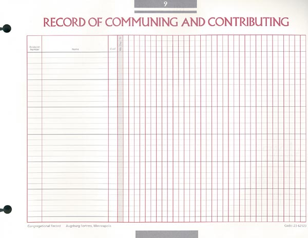 Record of Communing and Contributing Congregational Record