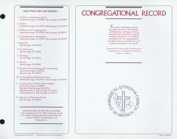 Contents page: Congregational Record
