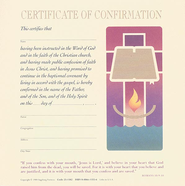 Celebration Certificate of Confirmation: Quantity per package: 12