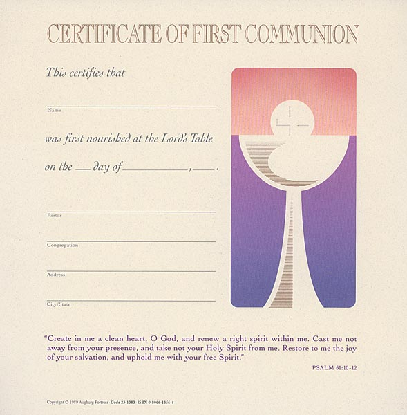 Celebration Certificate of First Communion: Quantity per package: 12