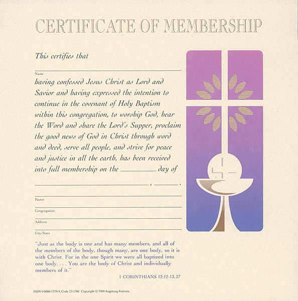 Celebration Certificate of Membership: Quantity per package: 12