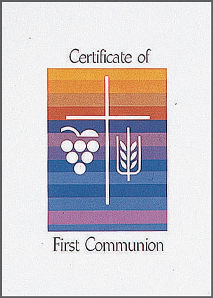 Rainbow Certificate of First Communion: Quantity per package: 12