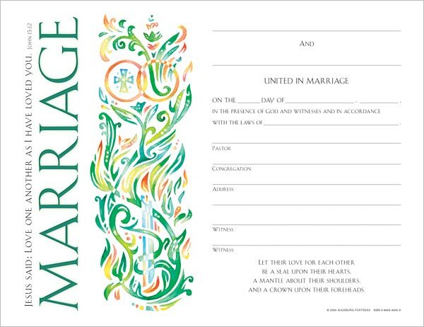 Community Marriage Certificate: Quantity per package: 12