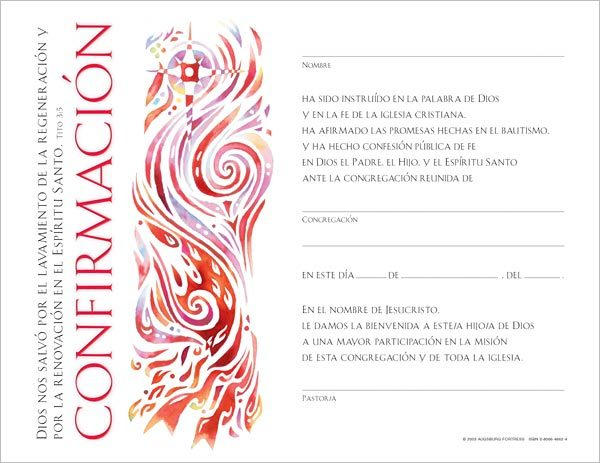 Certificado para Confirmación: (Spanish Community Confirmation Certificate) Quantity per package: 12