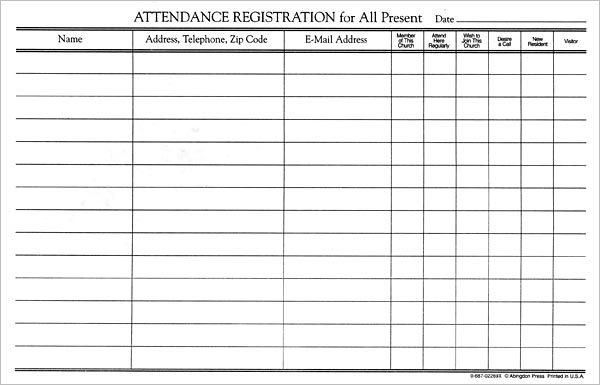 Attendance Registration Form 12/pk