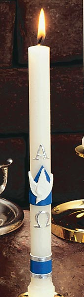 Alpha and Omega/Dove Baptismal Candle