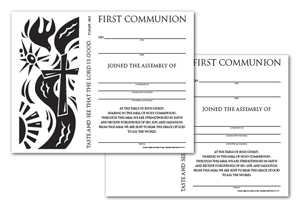 Certificate Download, First Communion (English)