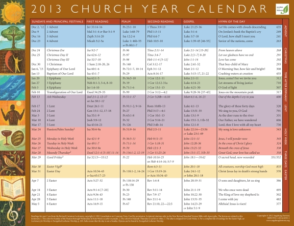 Church Year Calendar : Church calendar search results