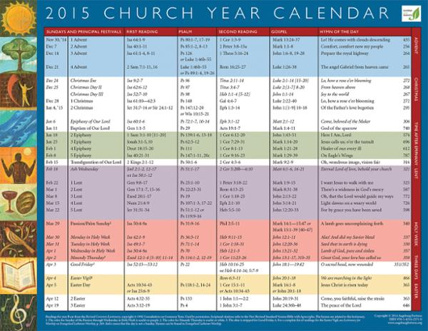 Church Year Calendar : Liturgical calendar with colors just b use