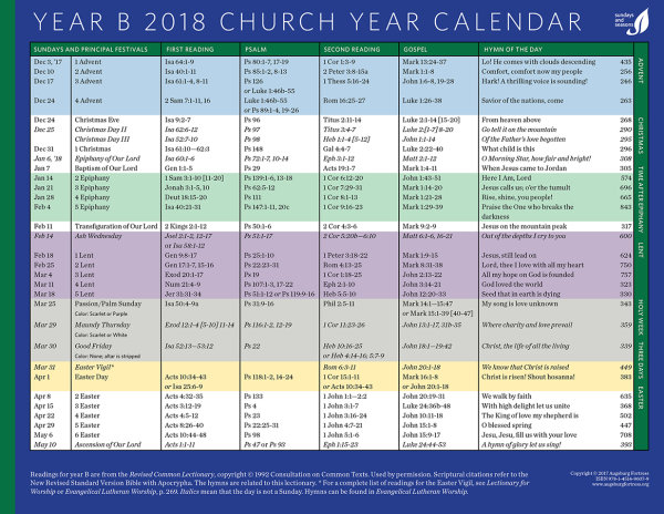 Church Year Calendar, Year B 2018