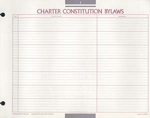 Charter, Constitution, Bylaws Congregational Record