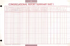 Congregational Report Summary Congregational Record