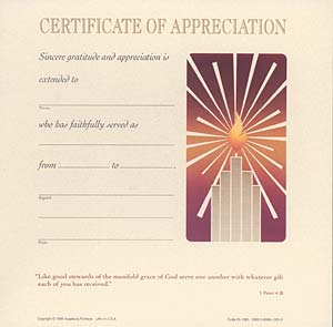 Celebration Certificate of Appreciation: Quantity per package: 12