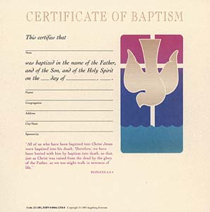 Celebration Certificate of Baptism: (Adult) Quantity per package: 12