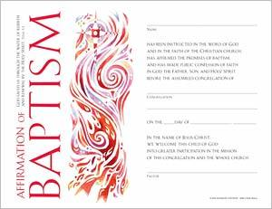 Community Affirmation of Baptism Certificate: Quantity per package: 12