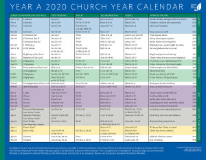 Church Year Calendar, Year A 2020: Downloadable
