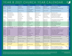 Church Year Calendar, Year B 2021