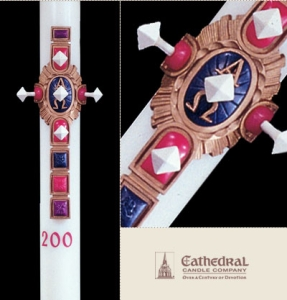 Christ Victorious Design Paschal Candle: 1-15/16 x 39, Plain End