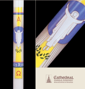 He Is Risen Paschal Candle, Plain End