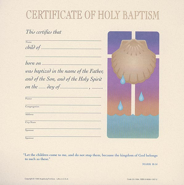 Celebration Certificate of Baptism: (Child) Quantity per package: 12