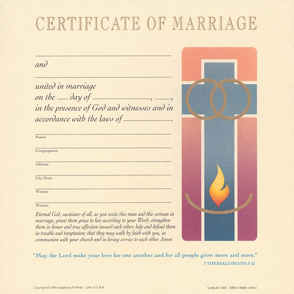 Celebration Certificate of Marriage: Quantity per package: 12