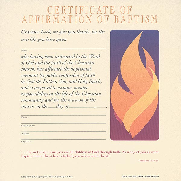 Celebration Certificate of Affirmation of Baptism: Quantity per package: 12