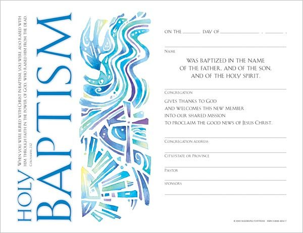 Community Adult Baptism Certificate: Quantity per package: 12