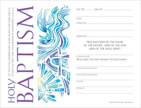 Certificates – Baptism Certificate