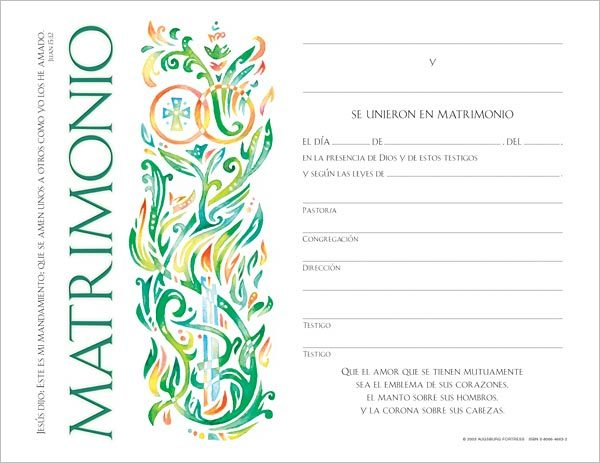 Certificado para Matrimonio: (Spanish Community Marriage Certficate) Quantity per package: 12