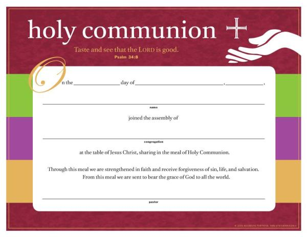 Fed and Forgiven Communion Certificates: 12 per package