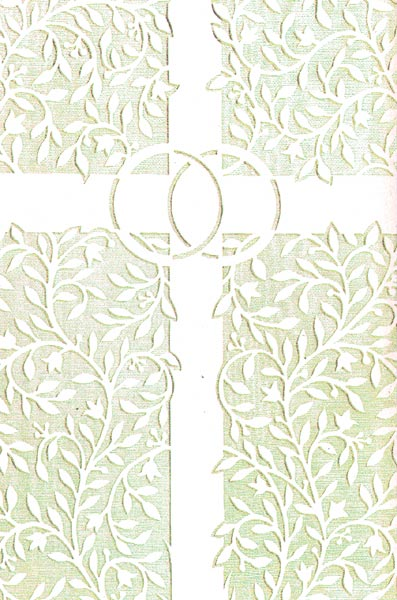 white ivory cross and rings wedding bulletin quantity per