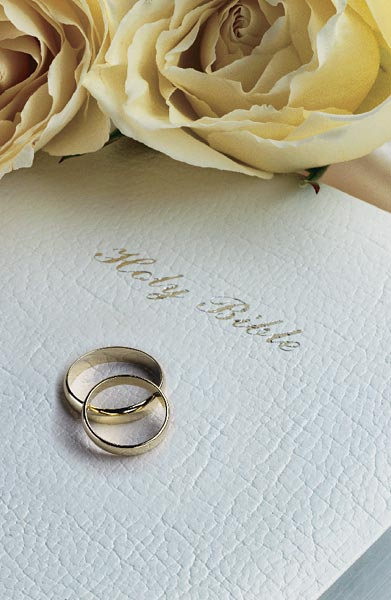 Holy Bible With White Roses And Rings Wedding Bulletin