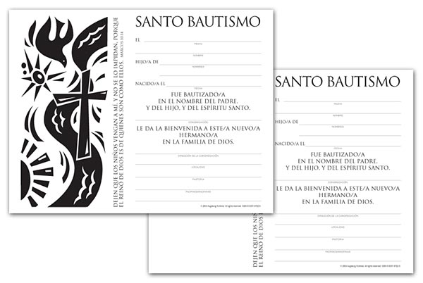 Certificate Download, Child Baptism (Spanish)