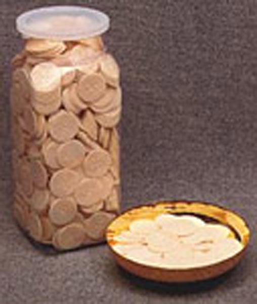 Communion Wafers with Plastic Container: White, 1-1/8'' diameter, Quantity per package: 1000