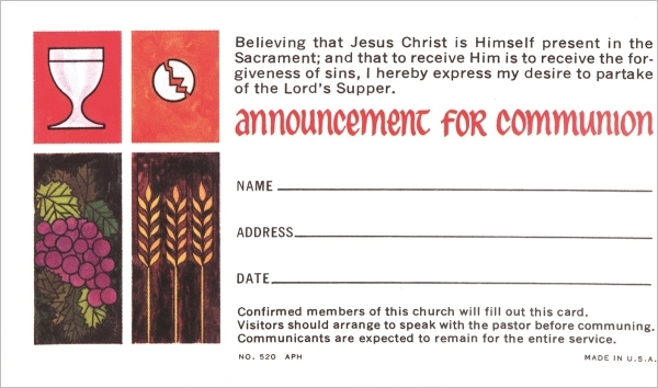 Announcement for Communion Card, 100/pkg