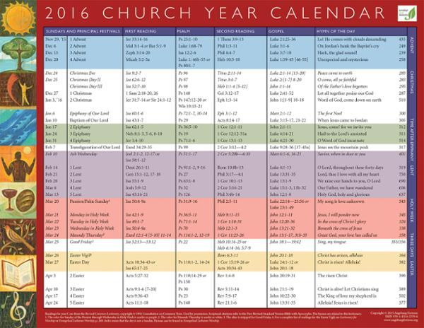Church Year Calendar 2016, Year C