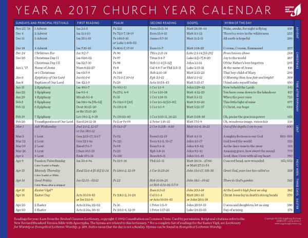 church year calendar 2017 year a