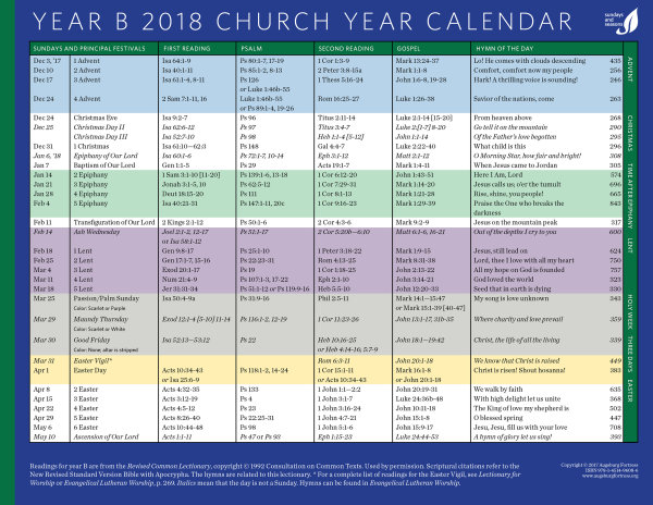 church year calendar 2018 year b downloadable