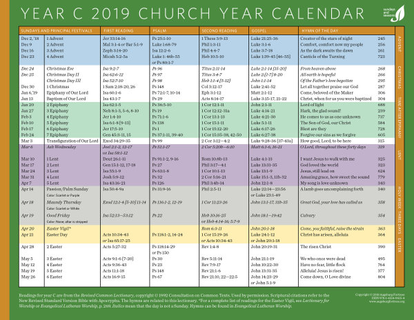 church year calendar 2019 year c