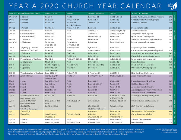 Liturgical Colors Calendar 2020 Church Year Calendar 2020, Year A