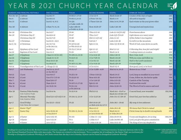 Elca Church Calendar 2021 Church Year Calendar, Year B 2021 | Augsburg Fortress