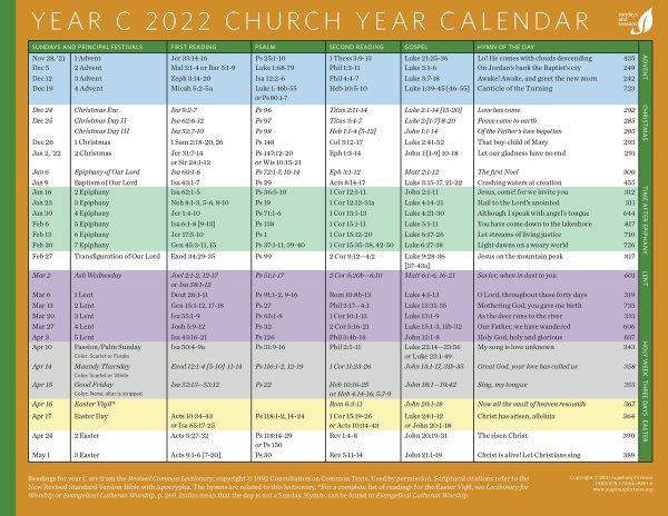 Church Calendar 2022.Church Year Calendar Year C 2022 Augsburg Fortress