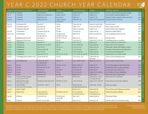2022 Lectionary Calendar.Church Year Calendar Year C 2022 Downloadable Augsburg Fortress