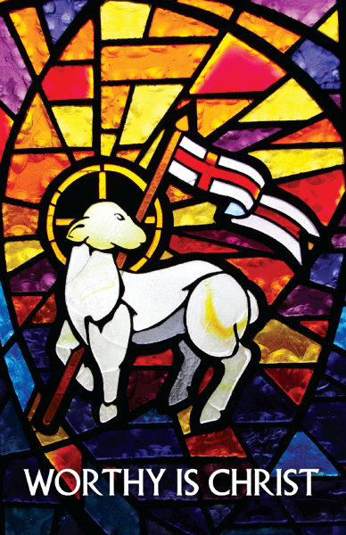 Lamb Stained Glass Bulletin, Regular Size: Quantity per package: 100